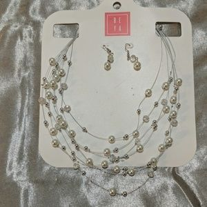 Floating beads and Pearl Necklace and earrings set